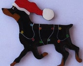Miniature Pinscher Christmas Pin, Magnet or Ornament-Color Choice-Free Shipping-Hand Painted Min Pin