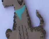 Irish Wolfhound Pin, Magnet or Ornament -Free Shipping -Hand Painted