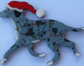 Catahoula Leopard Dog Christmas Pin, Magnet or Ornament-Color Choice-Free Shipping-Hand Painted