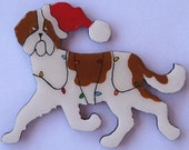St Bernard Christmas Pin, Magnet or Ornament-Free Shipping-Hand Painted