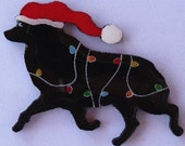 Schipperke Christmas Pin, Magnet or Ornament-Hand Painted-Free Shipping