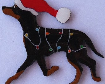 Manchester Terrier Christmas Pin, Magnet or Ornament -Free Shipping -Hand Painted- Free Personalization Available