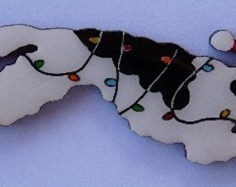 Borzoi Christmas Pin, Magnet or Ornament -Color Choice -Free Shipping- Free Personalization Available -Hand Painted