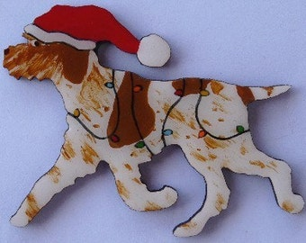 Italian Spinone Christmas Pin, Magnet or Ornament-Free Shipping-Color Choice-Hand Painted- Free Personalization Available