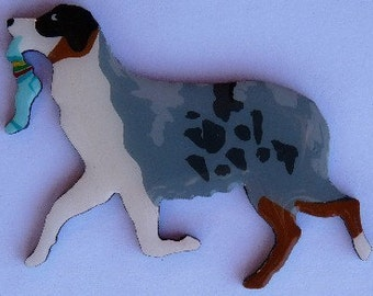 Australian Shepherd Pin, Magnet or Ornament-Free Shipping-Color Choice-Hand Painted