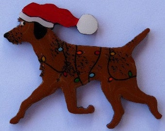 Border Terrier Christmas Pin, Magnet or Ornament -Hand Painted -Free Shipping- Free Personalization Available