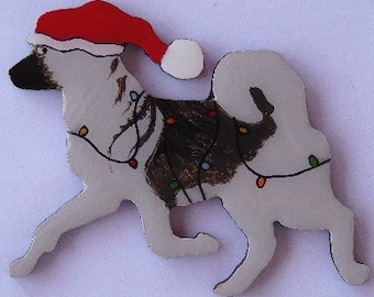 Norwegian Elkhound Christmas Pin, Magnet or Ornament-Free Shipping-Hand Painted- Free Personalization Available