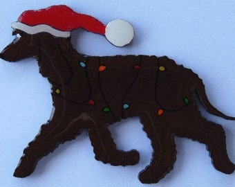 Irish Water Spaniel Christmas Pin- Magnet or Ornament-Free Shipping-Hand Painted- Free Personalization Available