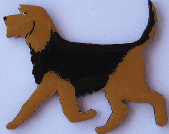 Otterhound Pin, Magnet or Ornament- Free Shipping -Hand Painted