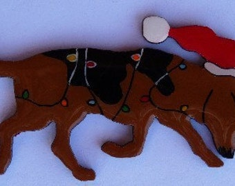 Bloodhound Christmas Pin, Magnet or Ornament- Free Shipping- Hand Painted- Free Personalization Available