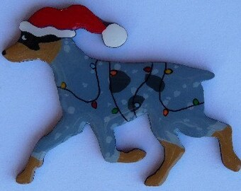 Blue or Red Heeler Christmas Pin, Magnet or Ornament -Free Shipping -Hand Painted- Free Personalization Available