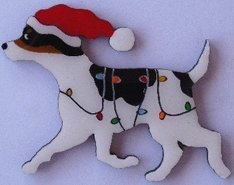 Rat Terrier Christmas Pin, Magnet or Ornament-Free Shipping-Hand Painted- Free Personalization Available