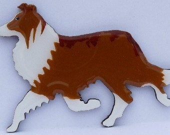 Collie Pin, Magnet or Ornament -Free Shipping -Color Choice -Hand Painted