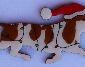 Basset Hound Christmas Pin, Magnet or Ornament- Free Shipping -Color Choice -Hand Painted- Free Personalization Available