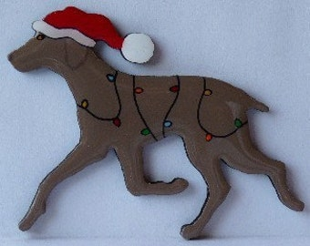 Weimaraner Christmas Pin, Magnet or Ornament -Free Shipping -Hand Painted