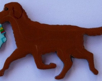 Chesapeake Bay Retriever Pin, Magnet or Ornament -Free Shipping -Hand Painted