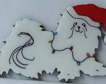 Maltese Christmas Pin, Magnet or Ornament -Free Shipping -Hand Painted