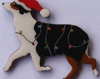 Australian Shepherd Christmas Pin, Magnet or Ornament -Color Choice -Free Shipping -Hand Painted Aussie- Free Personalization Available