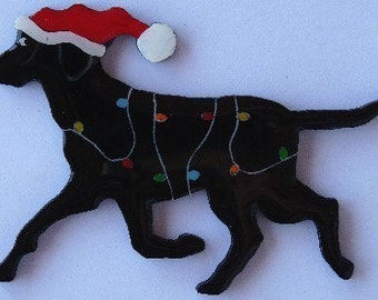 Labrador Retriever Christmas Pin,Magnet or Ornament-Free Shipping-Color Choice-Hand Painted- Free Personalization Available