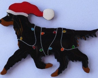 Gordon Setter Christmas Pin, Magnet or Ornament -Free Shipping -Hand Painted- Free Personalization Available