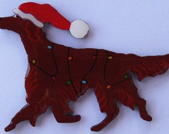 Irish Setter Christmas Pin, Magnet or Ornament -Free Shipping -Hand Painted- Free Personalization Available