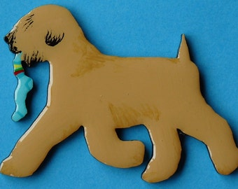 Soft Coated Wheaten Terrier Pin, Magnet or Ornament -Color Choice -Free Shipping -Hand Painted
