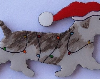 Glen of Imaal Terrier Christmas Pin, Magnet or Ornament-Color Choice-Hand Painted-Free Shipping