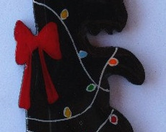 Scottie Christmas Pin, Magnet or Ornament-Free Shipping-Hand Painted- Free Personalization Available