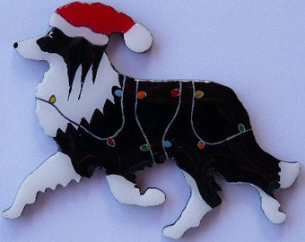 Border Collie Christmas Pin, Magnet or Ornament-Color Choice-Free Shipping-Free Personalization -One of Two Border Collie Styles Offered