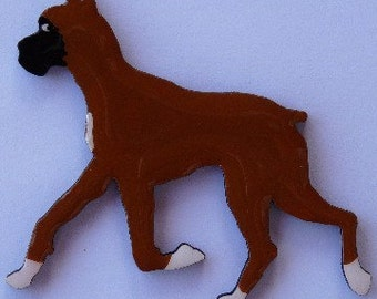 Boxer Pin, Magnet or Ornament in Sable or Brindle, Cropped or Uncropped -Free Shipping -Hand Painted