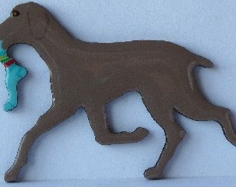 Weimaraner Pin, Magnet or Ornament -Free Shipping -Hand Painted