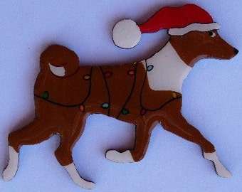 Basenji Christmas Pin, Magnet or Ornament -Free Shipping -Hand Painted