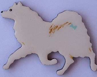 American Eskimo Dog Pin, Magnet or Ornament-Free Shipping-Hand Painted