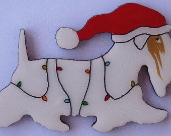 Sealyham Terrier Christmas Pin,Magnet or Ornament-Color Choice-Free Shipping-Hand Painted- Free Personalization Available