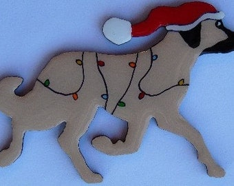 Anatolian Shepherd Dog Christmas Pin, Magnet or Ornament- Free Shipping- Hand Painted- Free Personalization Available