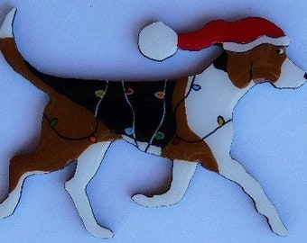 American Foxhound Christmas Pin, Magnet or Ornament -Free Shipping -Hand Painted- Free Personalization Available