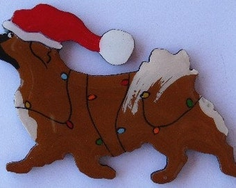 Tibetan Spaniel Christmas Pin, Magnet or Ornament -Color Choice -Free Shipping- Free Personalization Available -Hand Painted