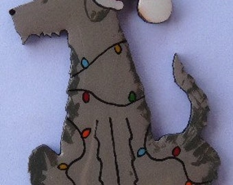 Irish Wolfhound Christmas Pin, Magnet or Ornament -Free Shipping -Hand Painted- Free Personalization Available