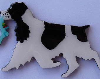 English Cocker Pin, Magnet or Ornament -Free Shipping -Color Choice -Hand Painted