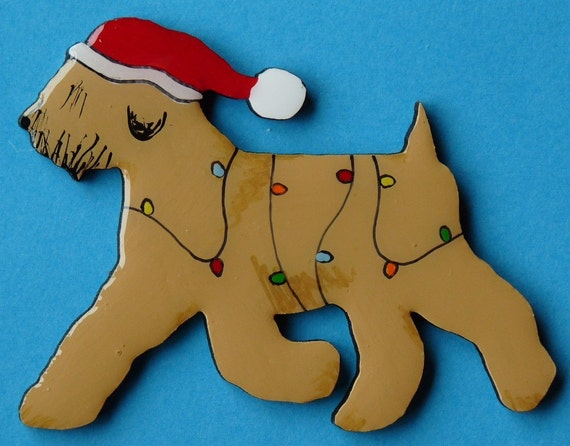 Soft Coated Wheaten Christmas Pin, Magnet or Ornament -Color Choice -Free Shipping -Hand Painted