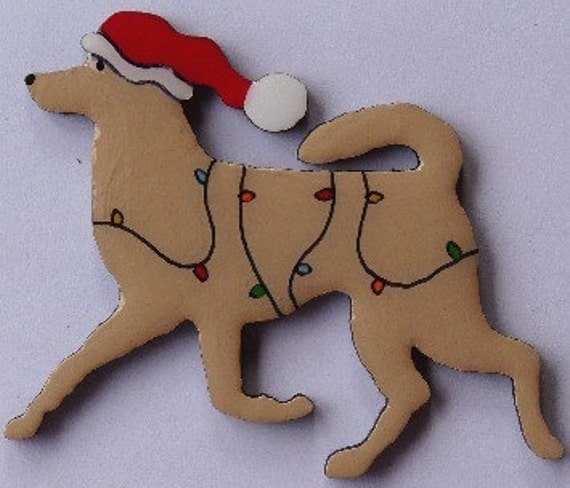 Canaan Dog Christmas Pin, Magnet or Ornament -Color Choice -Hand Painted -Free Shipping- Free Personalization Available