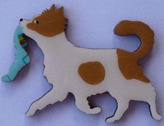 Long Hair Chihuahua Pin, Magnet or Ornament -Free Shipping -Color Choice -Also See Short Hair