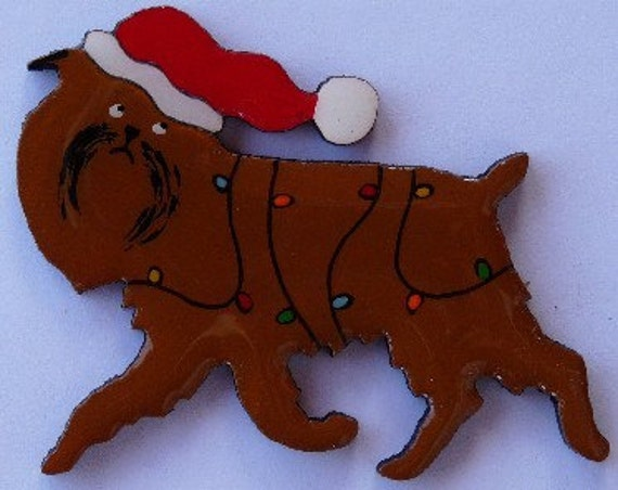 Brussels Griffon Christmas Pin, Magnet or Ornament -Free Shipping -Hand Painted