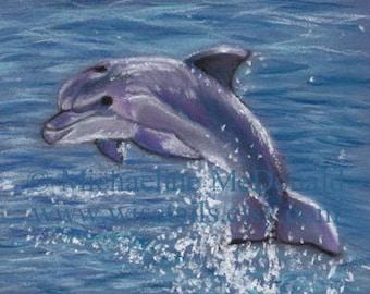 Dolphin Painting - dolphin art, dolphin print, dolphin poster, dolphin gifts, nautical decor, ocean art,