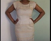 Tan embroidered and beaded, cap sleeved wiggle dress