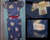 1940s style blue novelty print day dress. ILGWU tag.