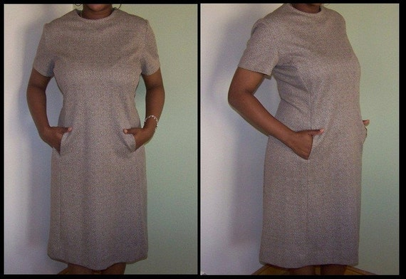 Faux-tweed 1960s shift dress with pockets.