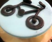 Bicycle themed fondant cu...