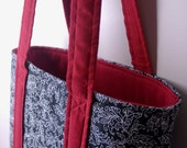 Tote Bag-Black and White Floral with Red Trim