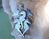 Seahorse Family Sterling Silver Lost Wax Cast Pendant OOAK
